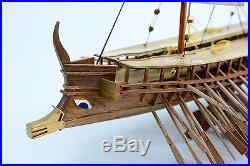 Ancient Greek Vessel Trireme 480 B. C Warship Handmade Ship Model 32