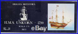COREL 175 HMS Unicorn 1790 Fregata Britannica Ship Wooden Model Kit #SM11U