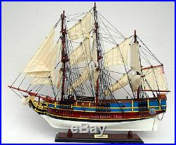 HMS Bounty Painted Tall Ship Assembled 36 Handmade Built Wooden Model Boat New