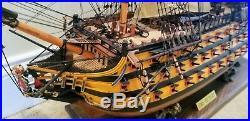 HMS Victory British Royal Navy Painted Wood Tall Ship Model 38 REDUCED
