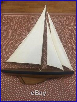 Large 45 Tall Model Sail Boat Wooden Ship Yacht Boat Nautical NICE