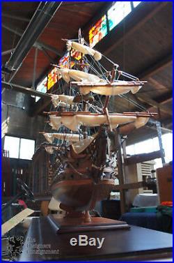 Vintage Model Sailing Ship Display Case & Stand HMS Victory 1805 Royal Navy